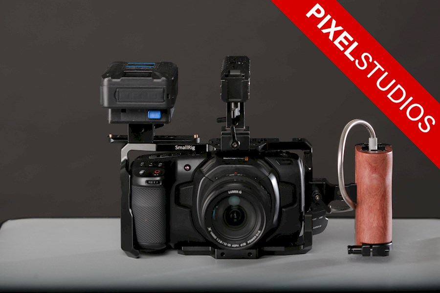 Rent a Blackmagic Pocket Cinema Camera 4k + Lumix 12-35mm f/2.8 + 1TB SSD + 2x V-LOCK Battery + SmallRig [SUPERSET] in Almere from PIXEL STUDIOS